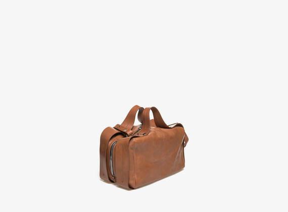 Rechteckige Koffertasche in Cognacfarbe