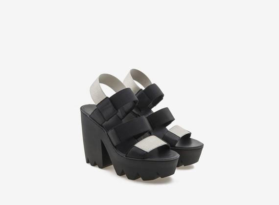 Sandalo maxi carrarmato con fasce elastiche laminate - Nero / Argento