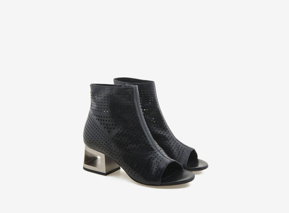 Peeptoe ankle boot with perforated steel-effect heel