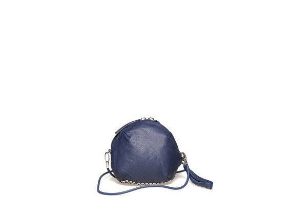 Blue clutch bag with studs on bottom