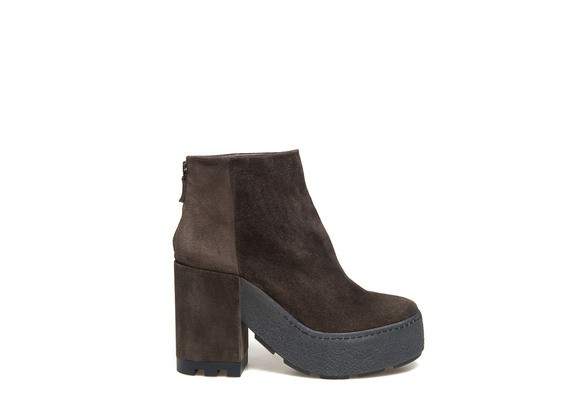 Dark brown suede ankle boot with a crepe square sole