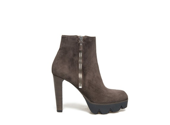 Dark brown suede ankle boot with zip and chunky platform