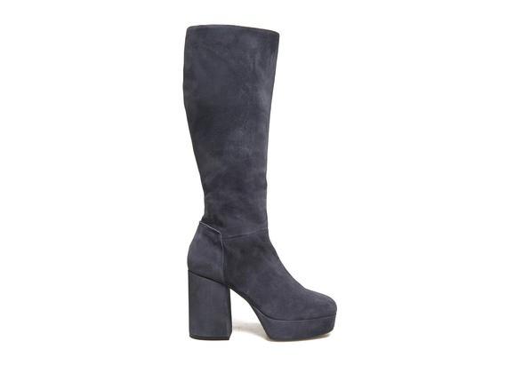 Stiefel aus blauem Veloursleder mit Plateausohle