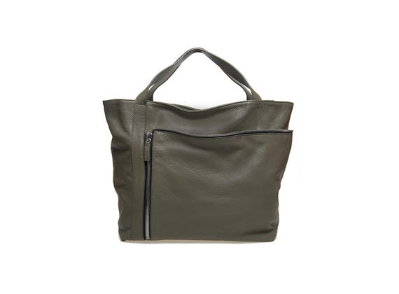 Shopping bag verde militare con maxi zip