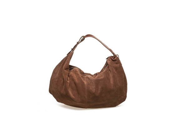 Suede bag with cowhide handle