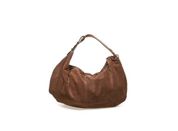 Weiche Tasche aus Veloursleder mit Henkel aus Vachettenleder