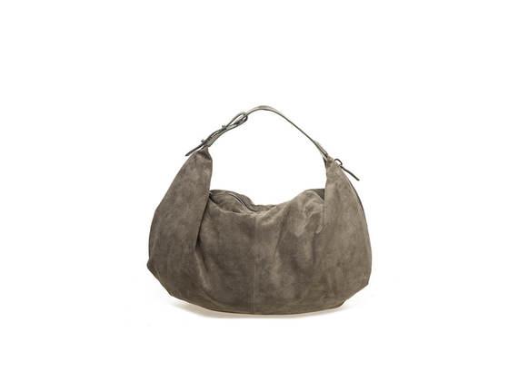 Militärgrüne, weiche Tasche aus Veloursleder