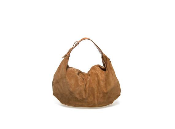 Lederfarbene, weiche Tasche aus Veloursleder
