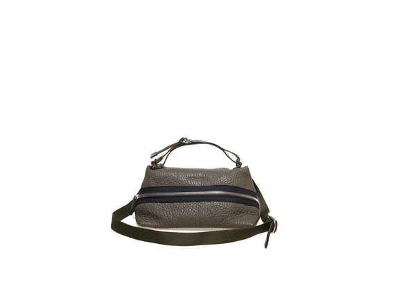 Military green A-line bag with zip