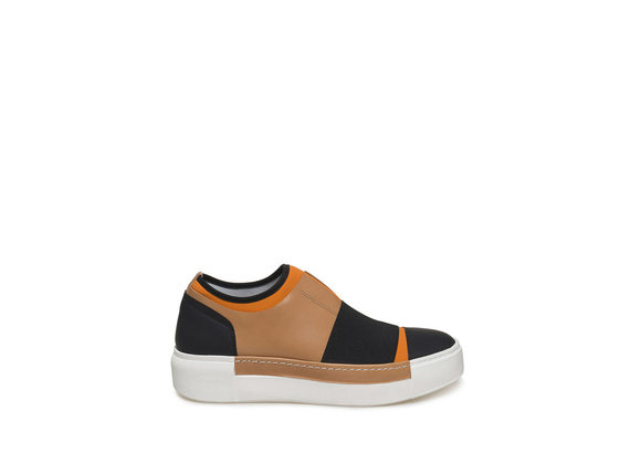 Orange neoprene slip-on with maxi stretch band