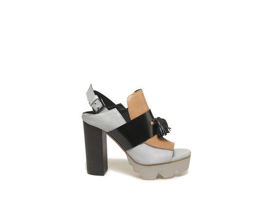 Peep-toe loafer with heavy tread