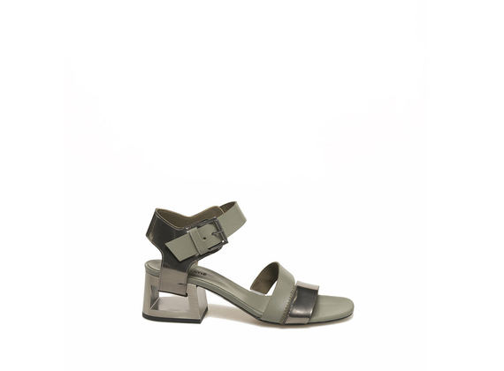 Military green sandal with perforated heel
