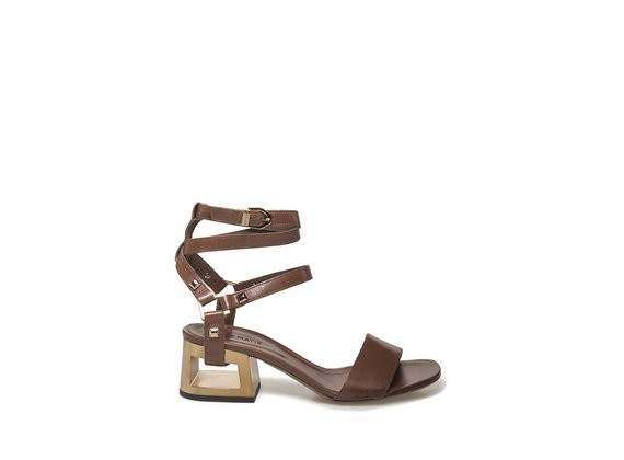 Sandal with straps and perforated gold heel - Brown