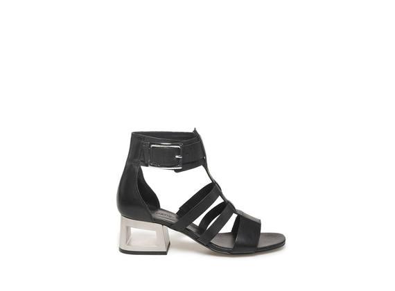 Sandalo gabbia con tacco forato color acciaio