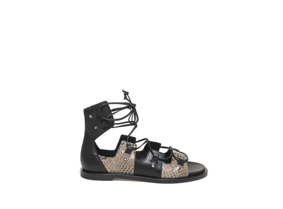 Python-effect sandal with cross over lace