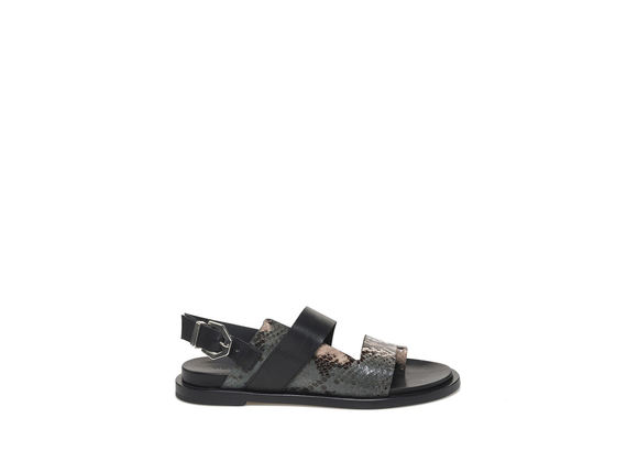 Python-effect sandal with buckle