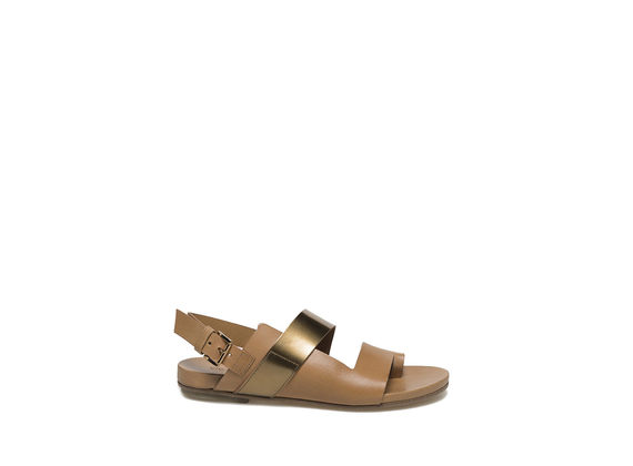 Military green-coloured sandal with metallic band