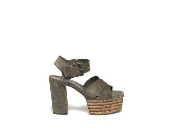 Military green suede sandal with cork platform