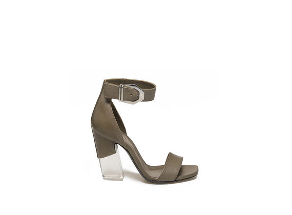 Military green sandal with buckle and plexi heel