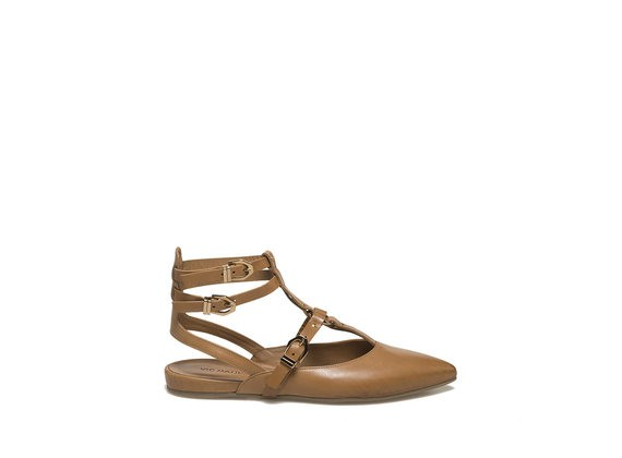 Hide-coloured slingback ballerina with straps