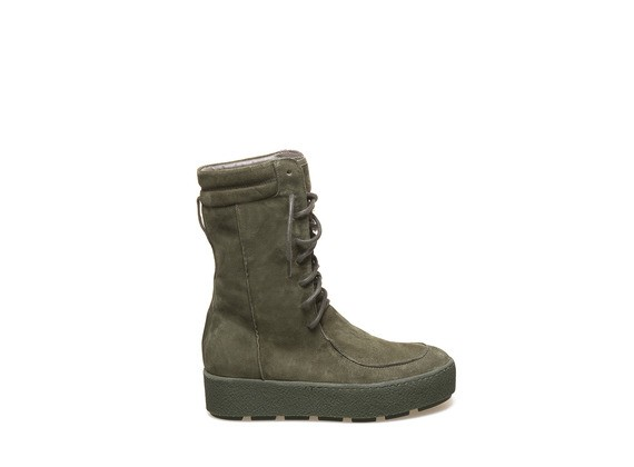 Lace up low boot military green