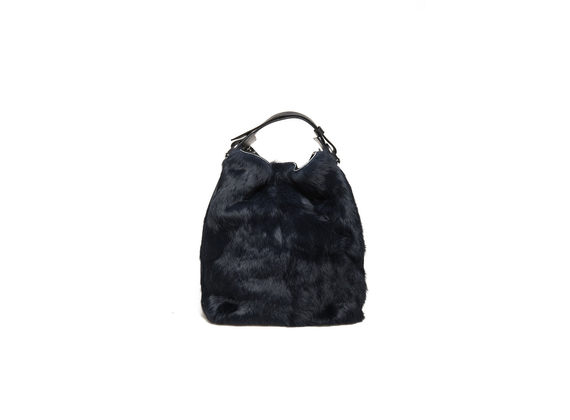 Blue rabbit fur bucket bag