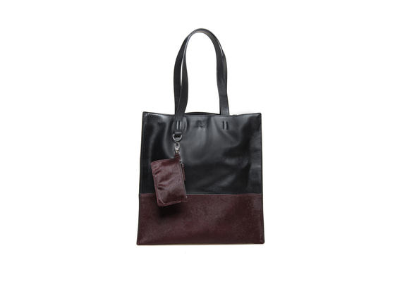 Two-tone ponyskin shopping bag