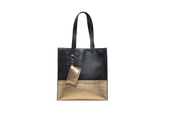 Two-tone metallic shopping bag
