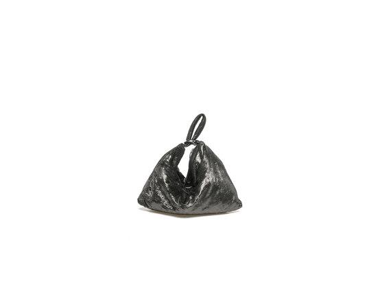 Mini-Beuteltasche aus stahlgrauem Metallicleder