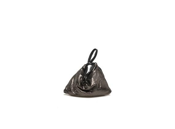 Mini-Beuteltasche aus bronzefarbigem Metallicleder