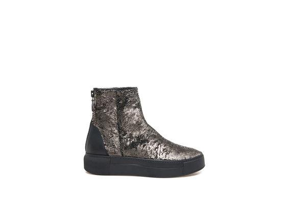 Metallic bronze heeled ankle boot