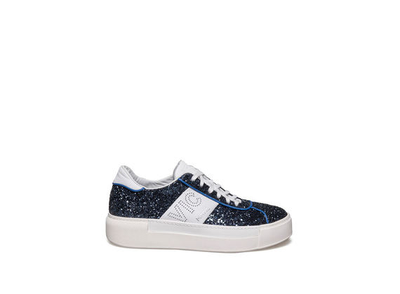 Lace up shoe in glitter and blue leather