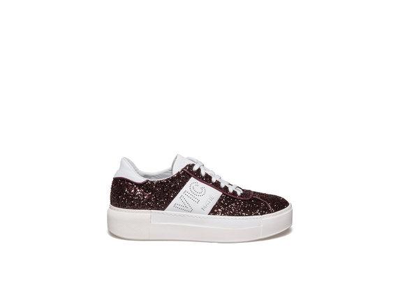 Chaussure lacée en glitter et cuir couleur bordeaux