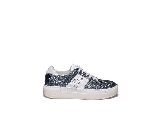 Chaussure lacée en glitter et cuir couleur bleu clair