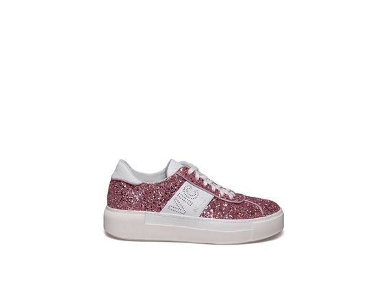 Lace up shoe in glitter and pink leather