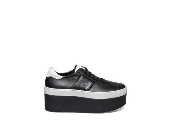 Chaussure lacée sur platform cuir black and white - Noir