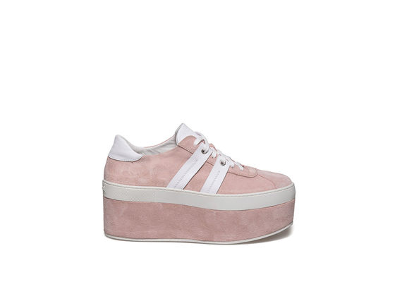Lace up shoe with bands on powder pink suede platform
