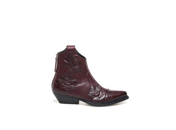 Burgundy Texan booties with embossed roses
