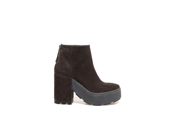 Brown suede ankle boots, cup sole with crepe effect