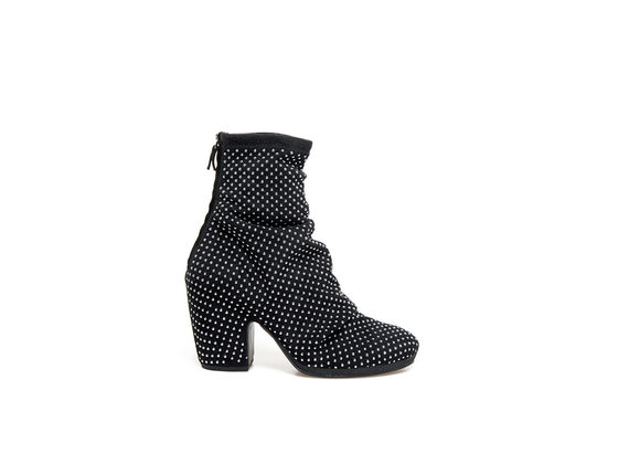 Stretch booties with micro-studs all over