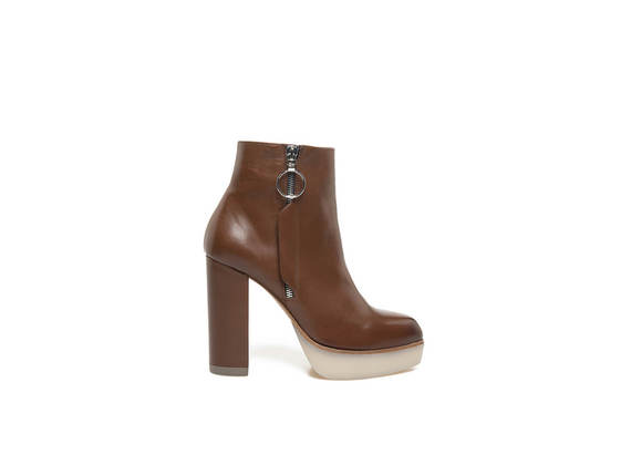 Black leather and brown leather ankle boots with side zip