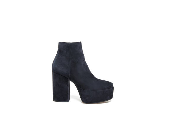 Midnight blue suede ankle boots with maxi plateau and heel