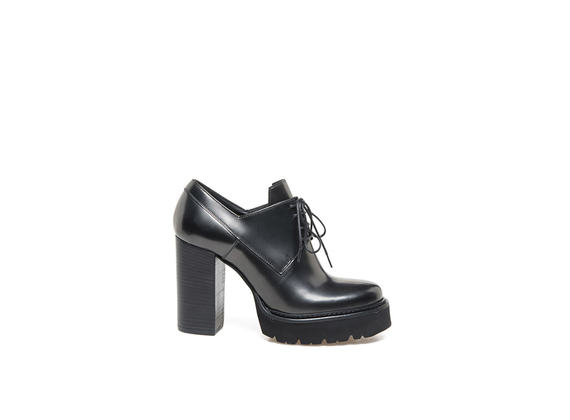 Metallic steel heeled Derby shoes with Panama sole