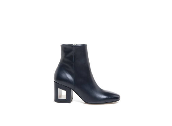 Blue leather ankle boot with perforated heel