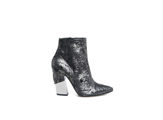 Metallic pointed toe ankle boots with partially-covered metal shell-shaped heel