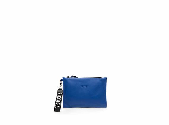 Madeline cornflower blue leather clutch