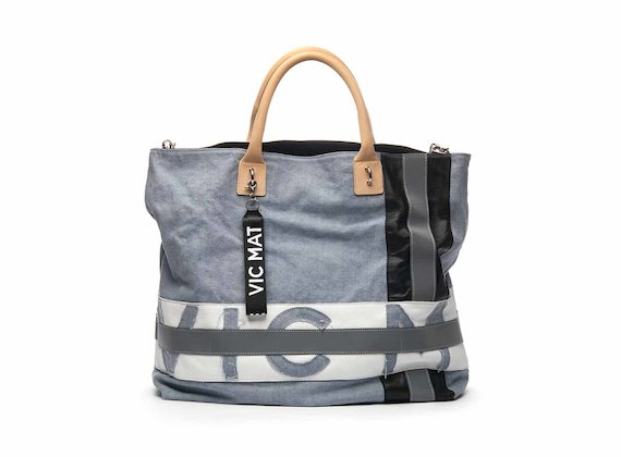 Joyce cotton shopper bag with logo