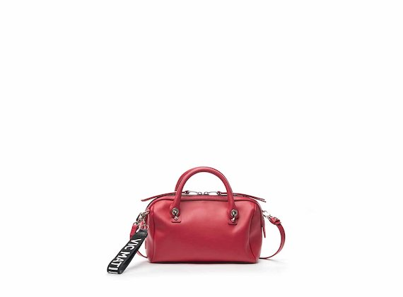Peggy fuchsia leather mini bowler bag