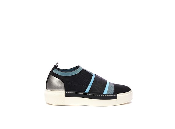 Black/sky blue colour block slip-on sock boot with elastic