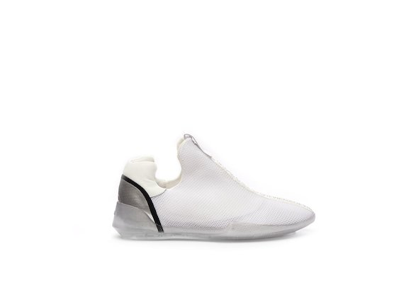 Micro-mesh slip-on shoe with a transparent sole